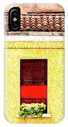 Three Red Windows With Flowers Of A Typically Italian House. IPhone Case