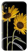 Three Sunflowers Light Painted On Black IPhone Case