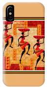 Three Tribal Dancers L B With Alt. Decorative Ornate Printed Frame. IPhone Case