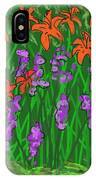 Tiger Lilies And Purple Hostas IPhone Case