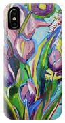 Pink Floral On Blue IPhone Case