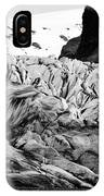 tourists at ash covered Skaftafell glacier and end moraine Vatnajokull national park in Iceland IPhone Case