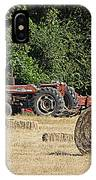 Tractor In The Hay Field IPhone Case