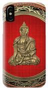 Treasure Trove - Gold Buddha On White Leather IPhone Case