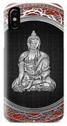 Treasure Trove - Silver Buddha On Red Velvet IPhone Case