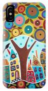 Tree Eight Houses And A Bird IPhone Case