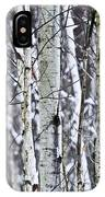 Tree Trunks Covered With Snow In Winter IPhone Case