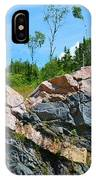 Trees Above The Pink And Grey Rock  IPhone Case