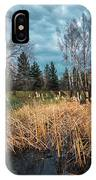Trees In A Fog On A Background Of The River In Summer Morning  IPhone Case