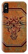 Tribal Dragon Head In Octagon With Dragon Chinese Characters IPhone Case