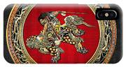 Tribute To Hokusai - Shoki Riding Lion  IPhone Case