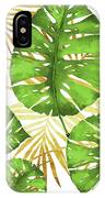 Tropical Haze Green Monstera Leaves And Golden Palm Fronds IPhone Case