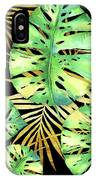 Tropical Haze Noir Variegated Monstera Leaves, Golden Palm Fronds On Black IPhone Case