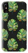 Tropical Leaves On Black- Art By Linda Woods IPhone Case