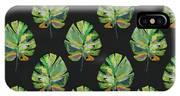 Tropical Leaves On Black- Art By Linda Woods IPhone X Case
