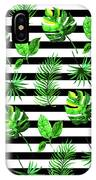 Tropical Leaves Pattern In Watercolor Style With Stripes IPhone Case