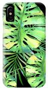 Tropics Noir, Tropical Monstera And Palm Leaves At Night IPhone Case