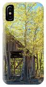 Truckee Shack Near Sunset During Early Autumn With Yellow And Green Leaves On The Trees IPhone Case