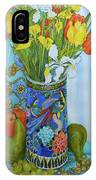 Tulips And Iris In A Japanese Vase, With Fruit And Textiles IPhone Case