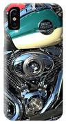 Turquoise And White Harley Tank And Motor IPhone Case