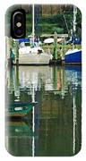 Turquoise Workboat In The Colorful Harbor IPhone Case