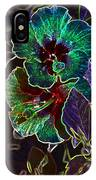 Two Hibiscus Glowing Edges Abstract IPhone Case