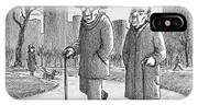 Two Older Men Walk With Canes Through A Park. IPhone Case