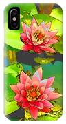 Two Pink Blooming Water Lilies  IPhone Case
