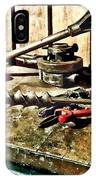 Two Red Wrenches On Plumber's Workbench IPhone Case