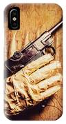 Undead Mummy  Holding Handgun Against Wooden Wall IPhone X Case