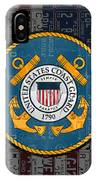 United States Coast Guard Logo Recycled Vintage License Plate Art IPhone Case