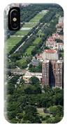 University Of Chicago Booth School Of Business And Midway Plaisance Park Aerial Photo IPhone Case