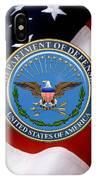 U. S. Department Of Defense - D O D Emblem Over U. S. Flag IPhone Case