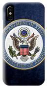 U. S. Department Of State - D O S Emblem Over Blue Velvet IPhone Case