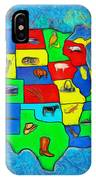 Us Map With Theme  - Van Gogh Style -  - Pa IPhone Case