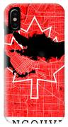 Vancouver Street Map - Vancouver Canada Road Map Art On Canada Flag Symbols IPhone Case