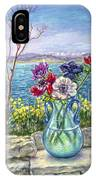 Vase Of Anemones With View Of Nafplio IPhone Case