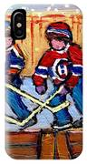 Verdun Hockey Rink Paintings Edmonton Oilers Vs Hometown Habs Quebec Hockey Art Carole Spandau       IPhone Case