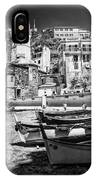 Vernazza Boats And Church Cinque Terre Italy Bw IPhone Case