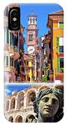 Verona Tourist Landmarks Postcard With Label IPhone Case