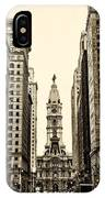 View Of Cityhall From Broad Street In Philadelphia IPhone Case