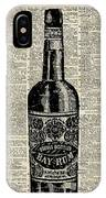 Vintage Bottle Of Rum Over Antique Book Page IPhone Case