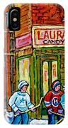 Vintage Candy Store Classic Coca Cola Truck Winter Scene Hockey Art Canadian Art Carole Spandau      IPhone Case