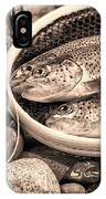 Vintage Concept Of Fly Reel And Pole With Trout In Net  IPhone Case