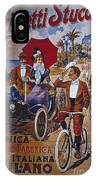 Vintage Cycle Poster Prinetti Stucchi Unica Grande Fabbrica Italiana Milano IPhone Case