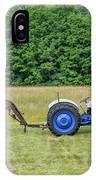 Vintage Ford Blue And White Tractor On A Farm IPhone Case
