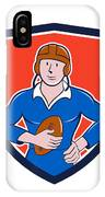 Vintage French Rugby Player Holding Ball Crest Cartoon IPhone Case