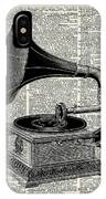 Vintage Gramophone IPhone Case by Anna W