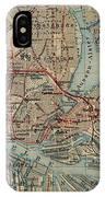 Vintage Hamburg Railway Map - 1910 IPhone Case