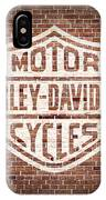 Vintage Harley Davidson Logo Painted On Old Brick Wall IPhone Case